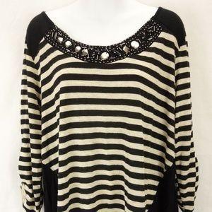 LAVISH Striped Embellished Boat Neck Shirt